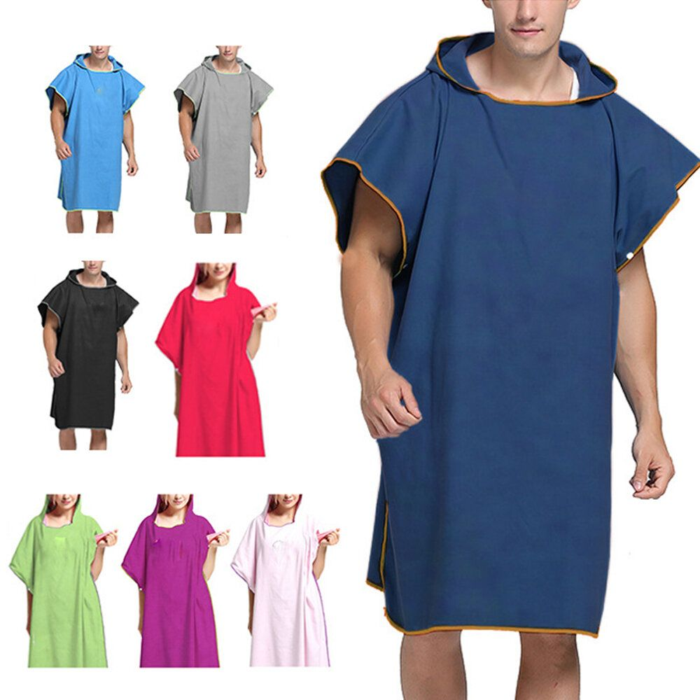 KCASA Adult Wearable Bathrobe Beach Towel Quick Drying Hooded Changing Robe Sunscreen Cloak Bath Towel Poncho Microfiber Surf Swimsuit Cloak