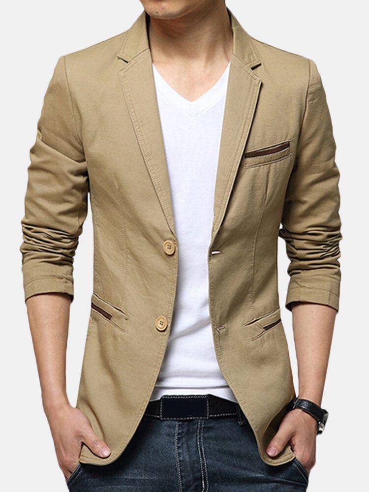 Mens Gentlemen Business Casual Fashion Slim Fit Pure Color Small Suit Coat Blazers