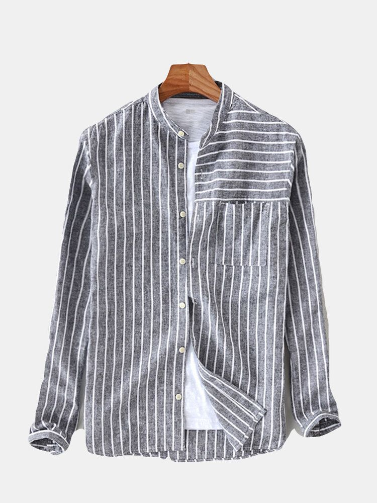 Mens Vintage Cotton Breathable Striped Loose Comfy Shirts