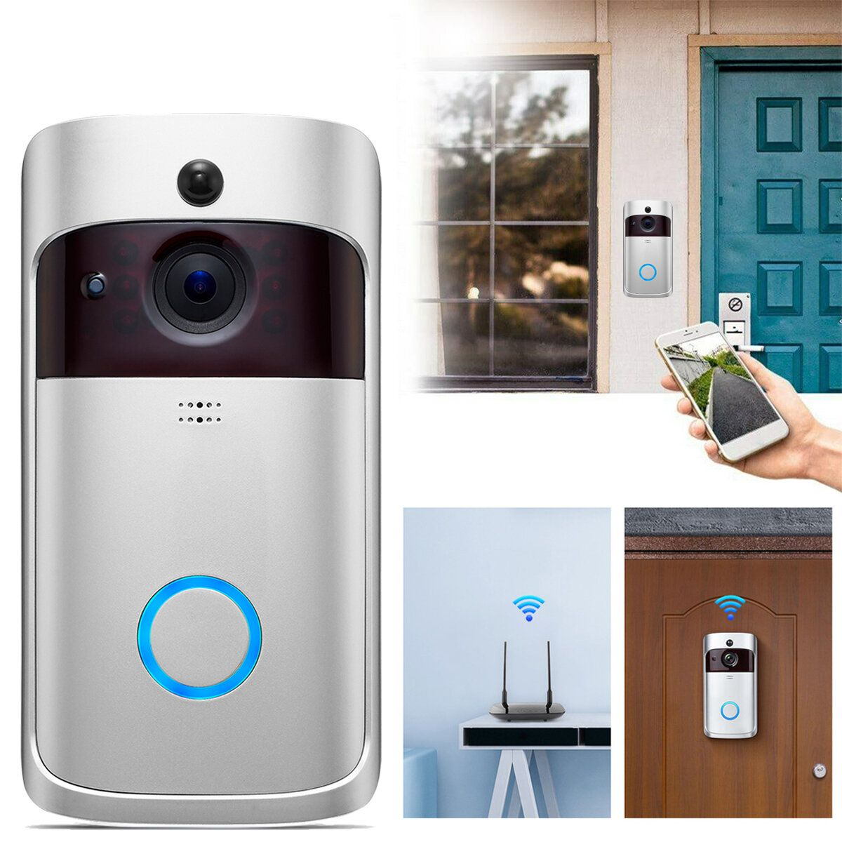 Smart 720P WiFi Video Doorbell Real Time Security Camera Talk Night Vision PIR Motion Detect