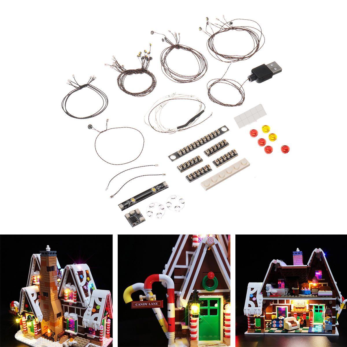 CRQ US$31.99 DIY LED Light String Kit Part For Lego 10267 House Model Building Gingerbread Flash