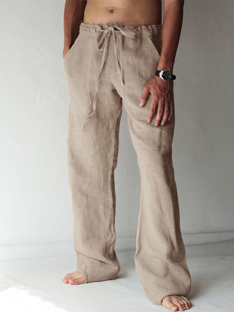 Men's Casual Cotton Linen Baggy Harem Yoga Pants Drawstring Long Slacks Trousers