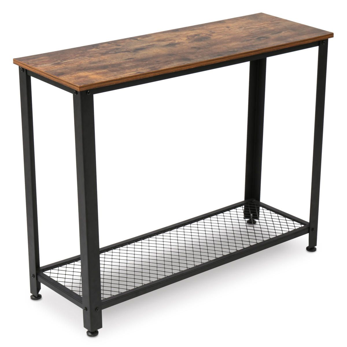 2 Tier Vintage Coffee Table Laptop Desk Sofa Table with Sturdy Storage Shelf Bookshelf Easy Assembly for Office Home Living Room Bedroom