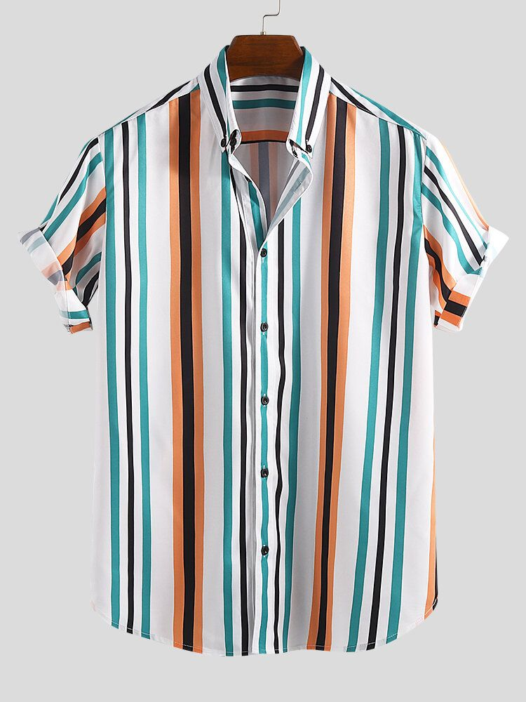 ChArmkpR Men Colorful Vertical Stripe Short Sleeve Relaxed Shirts