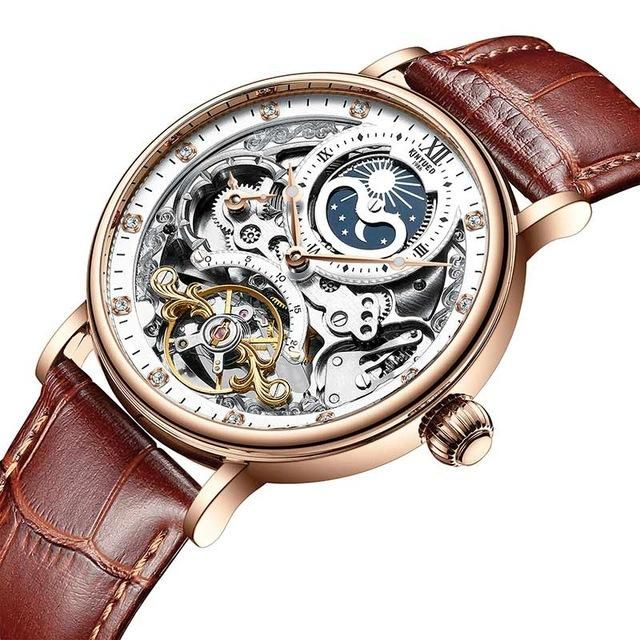 KINYUED JYD J055 Business Style Automatic Mechanical Watch Genuine Leather Strap Men Watches