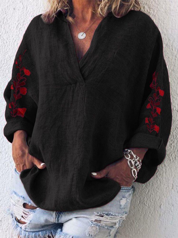Women Loose Embroidered V Neck Long Sleeve Pocket Blouse