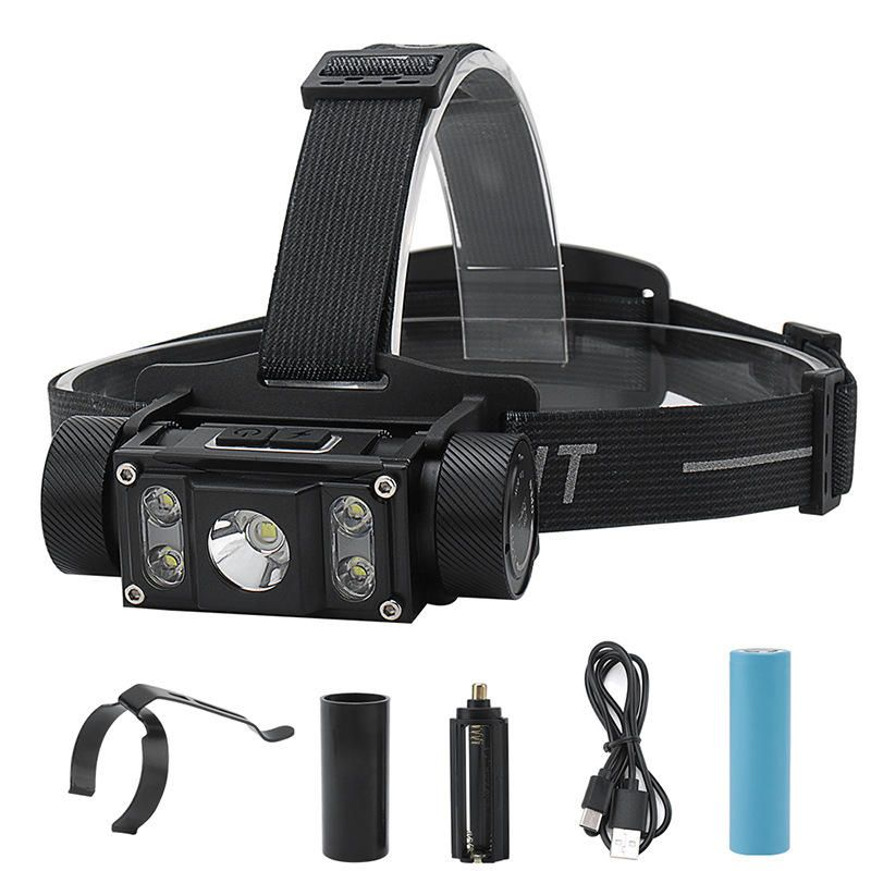 BORUiT B50 L2+4xXPG2 1200LM 6 Modes 160°Rotatable Type C Headlamp Outdoor Cycling Camping Multifunctional Headlamp