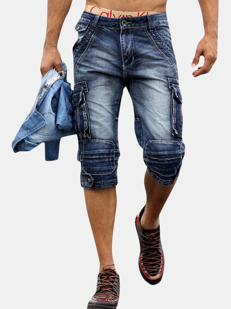 Retro Multi Pockets Over Knee Short Jeans