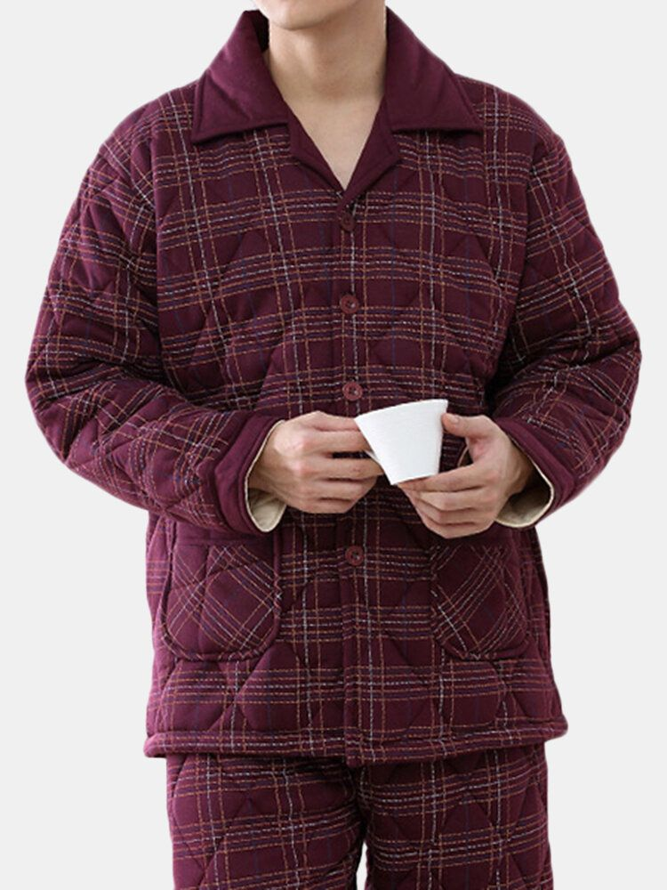 Mens Winter Casual Home Suits Thick Warm Quilted Pajamas Set