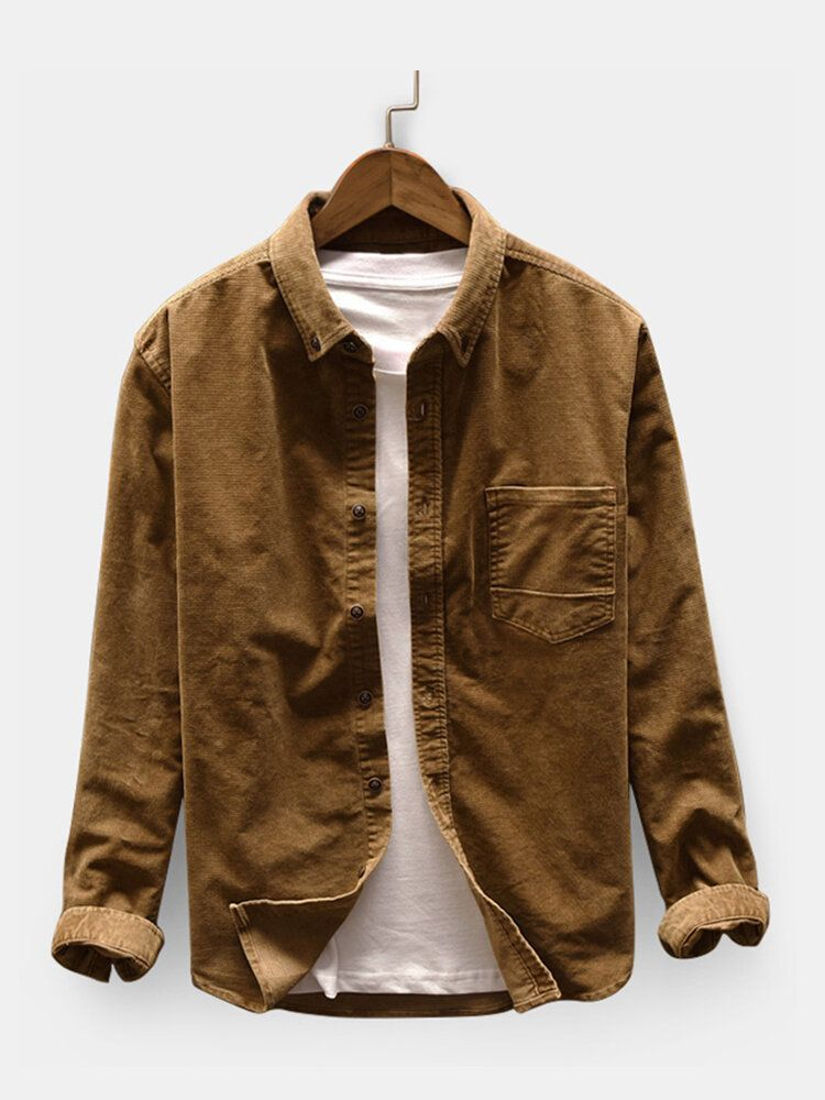 Men's Casual Corduroy Loose Pocket Design Shirts