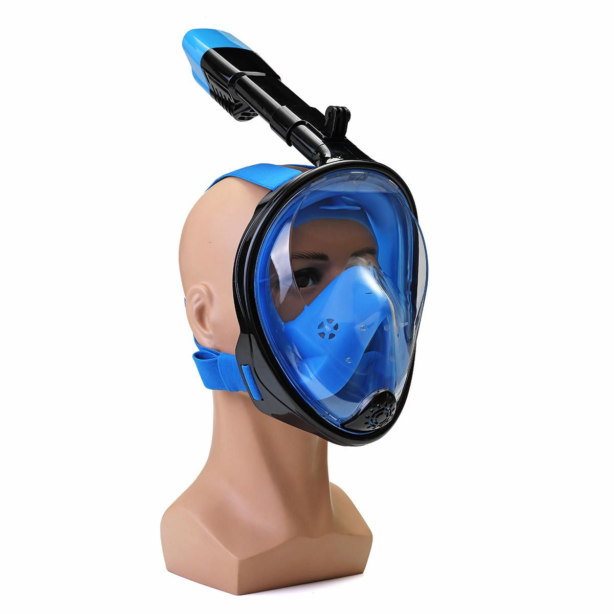 180° Viewing Area Full Dry Snorkeling Mask Fog Resistant Adjustment Diving Mask with a Camera Base