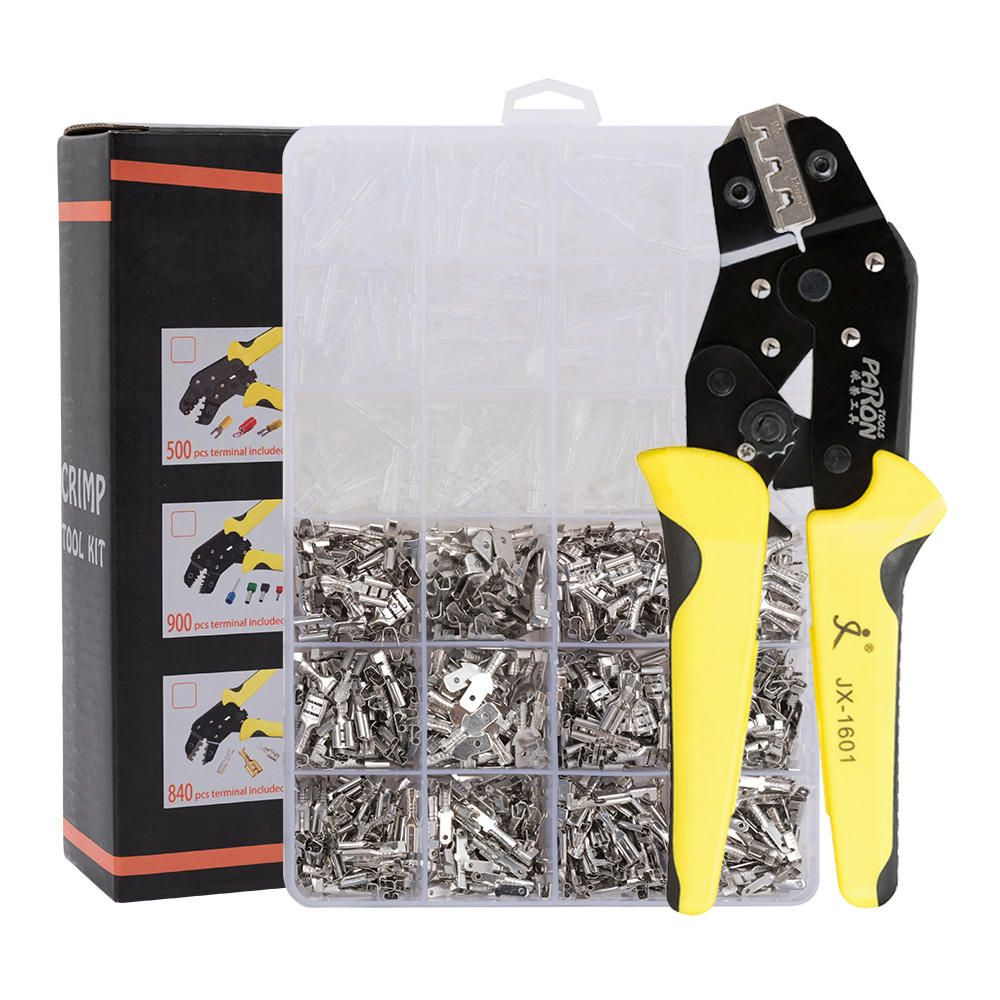 PARON JX 1601 08T AWG20 10 Crimper Plier Wire Engineering Ratchet Crimping Pliers Hand Tools with 840Pcs Terminals