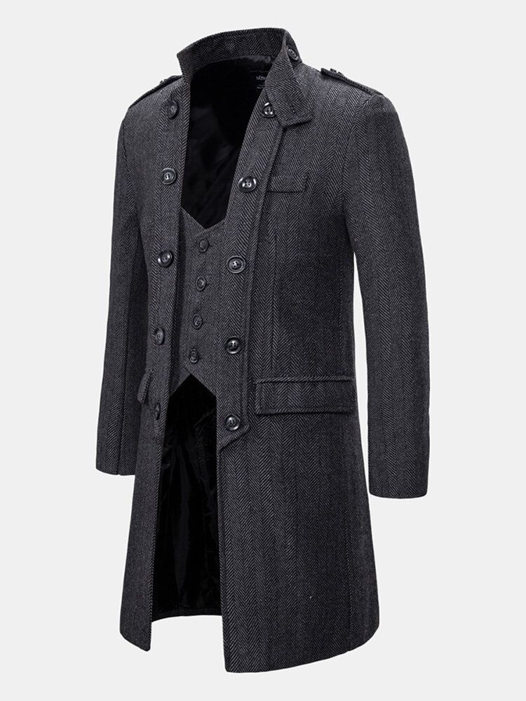 Mens Vintage Buttons Stand Collar Thick Casual Mid Long Coat