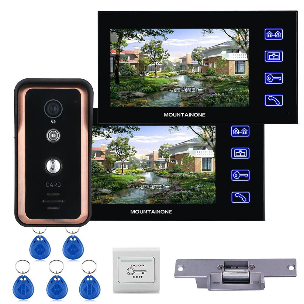 Touch Key Wired 7 inch Video Door Phone Video Intercom Doorbell System 2 Monitor 1 RFID IR CUT Camera + Electric Magnetic Lock