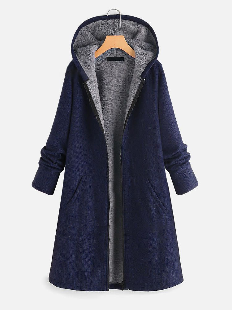 Women Casual Pure Color Hooded Zipper Coats with Pockets