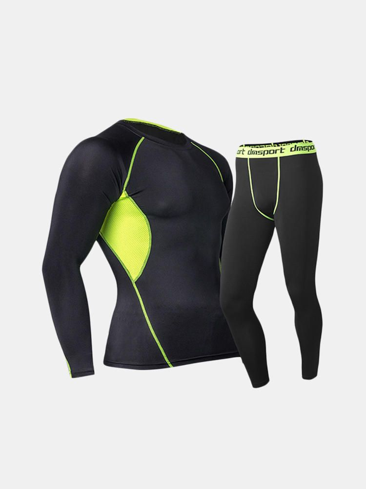 HQE US$25.14 Pro Sports Fitness Suit Mens Breathable Thermal Quick Dry Tight Elastic Outdoor Running Training Suits