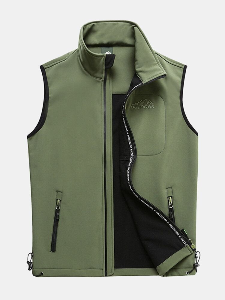 Mens Outdoor Soft Shell Sport Warm Solid Color Vest
