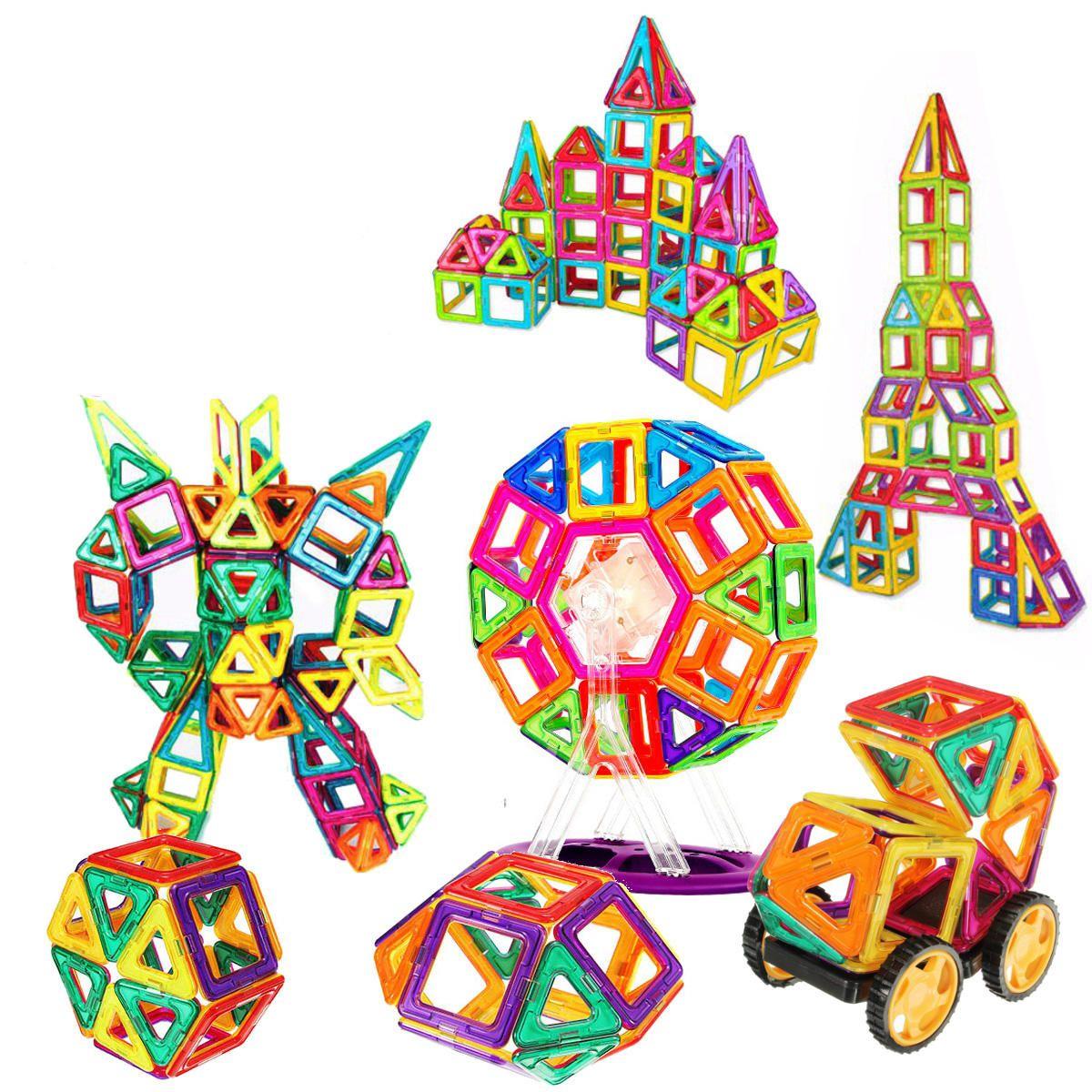 54Pcs 3D DIY Magnetic Bricks Building Blocks Kids Educational Toys