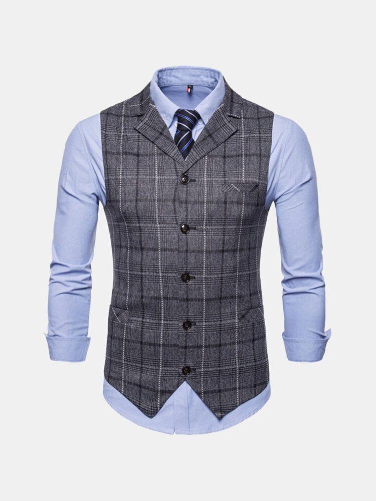 Mens Plaid Suit Collar Vest