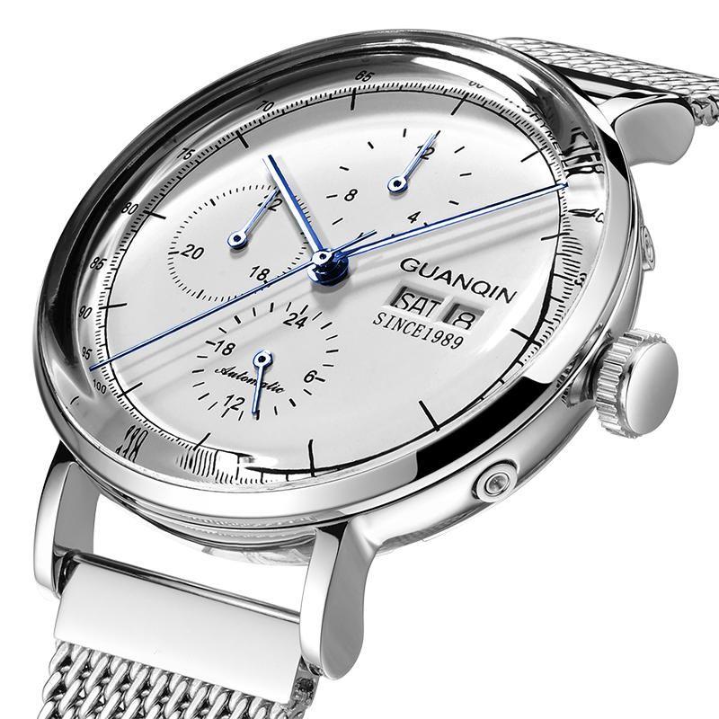 GUANQIN 16116 Stainless Steel Band Calendar Automatic Mechanical Watch Waterproof Men Watch
