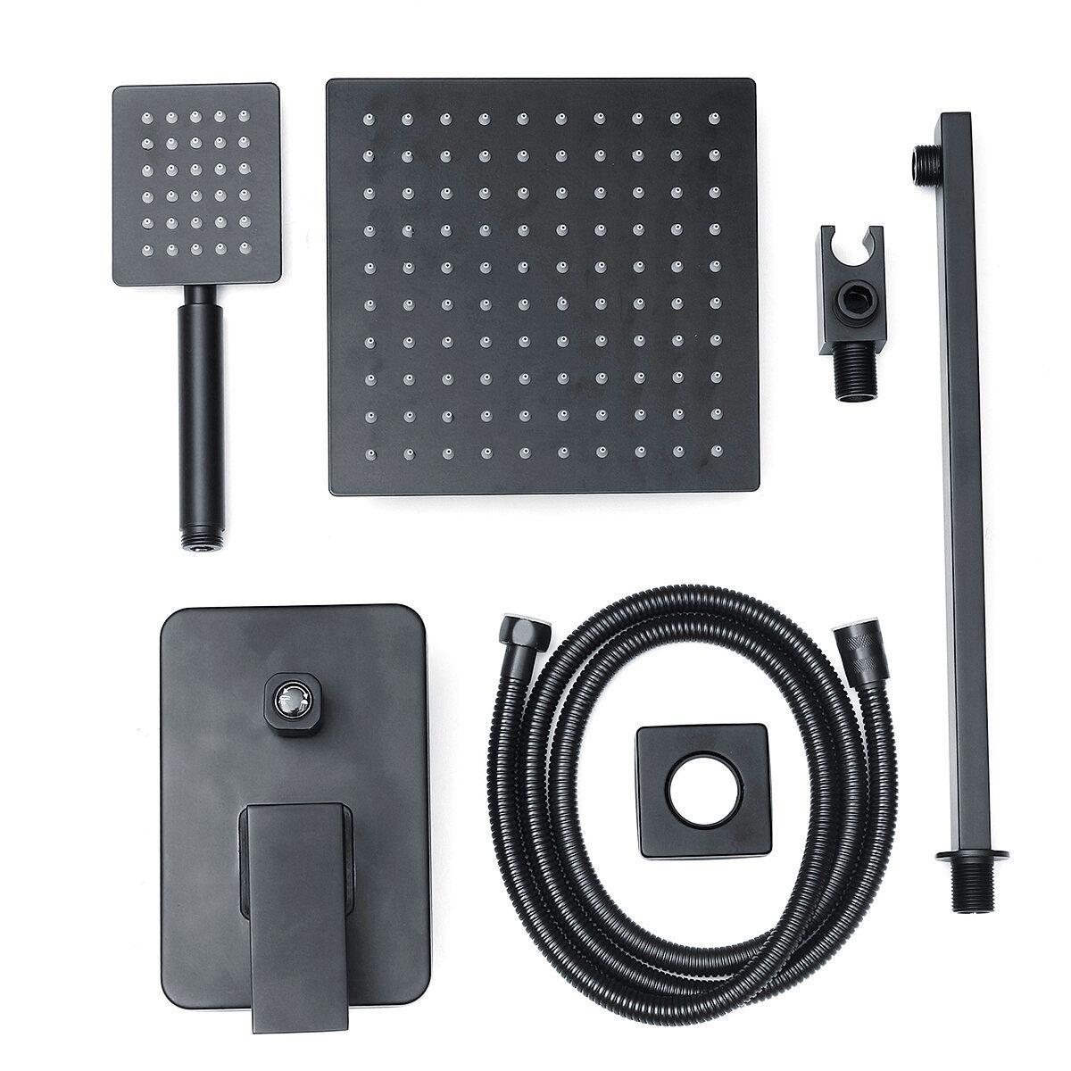 8''Black Wall Mounted Rainfall Shower Head Faucet Tub Spout Mixer Tap Shower Combo Set