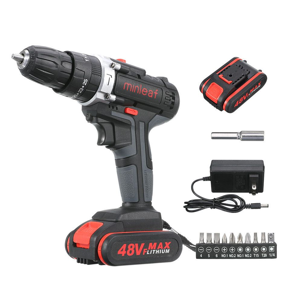 Minleaf ML ED1 48VF Cordless Electric Impact Drill Rechargeable Drill Screwdriver W/ 1 or 2 Li ion Battery