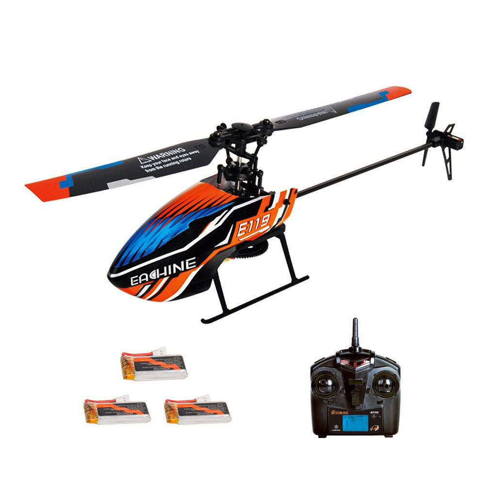 Eachine E119 2.4G 4CH 6 Axis Gyro Flybarless RC Helicopter RTF 3pcs 4pcs Batteries Version