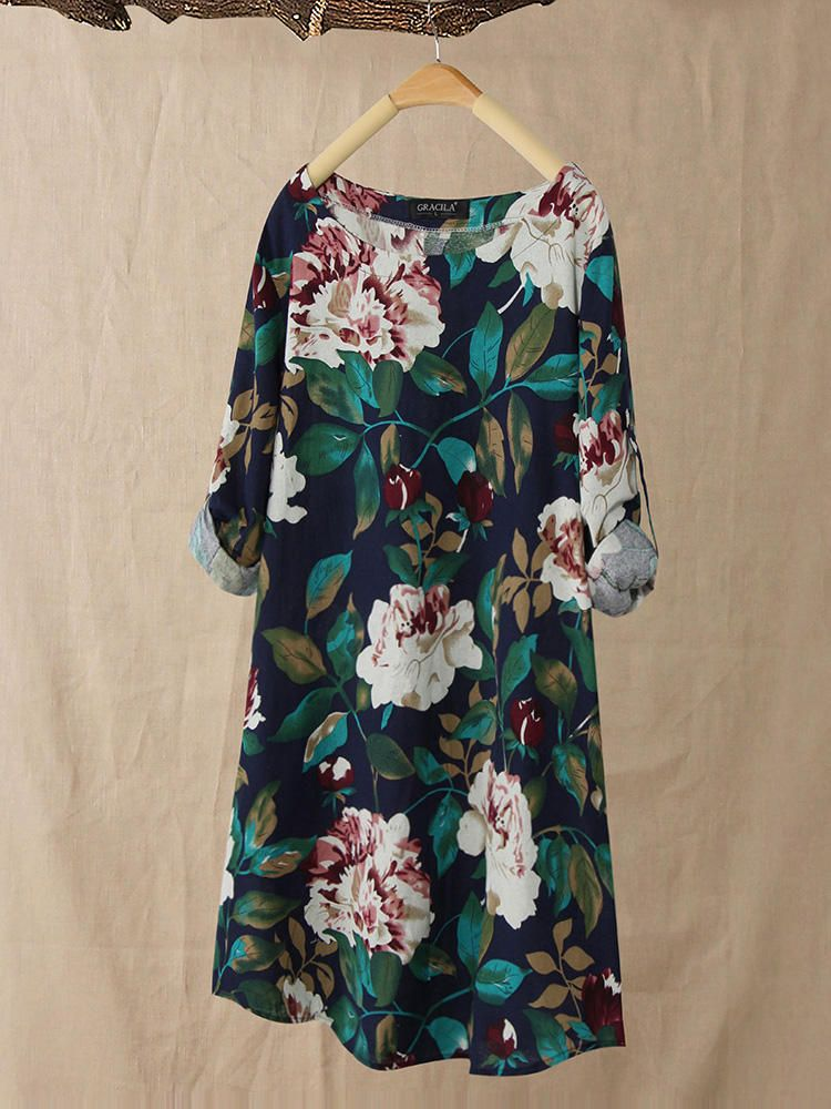 M 5XL Women Floral Print Shirt Mini Dress