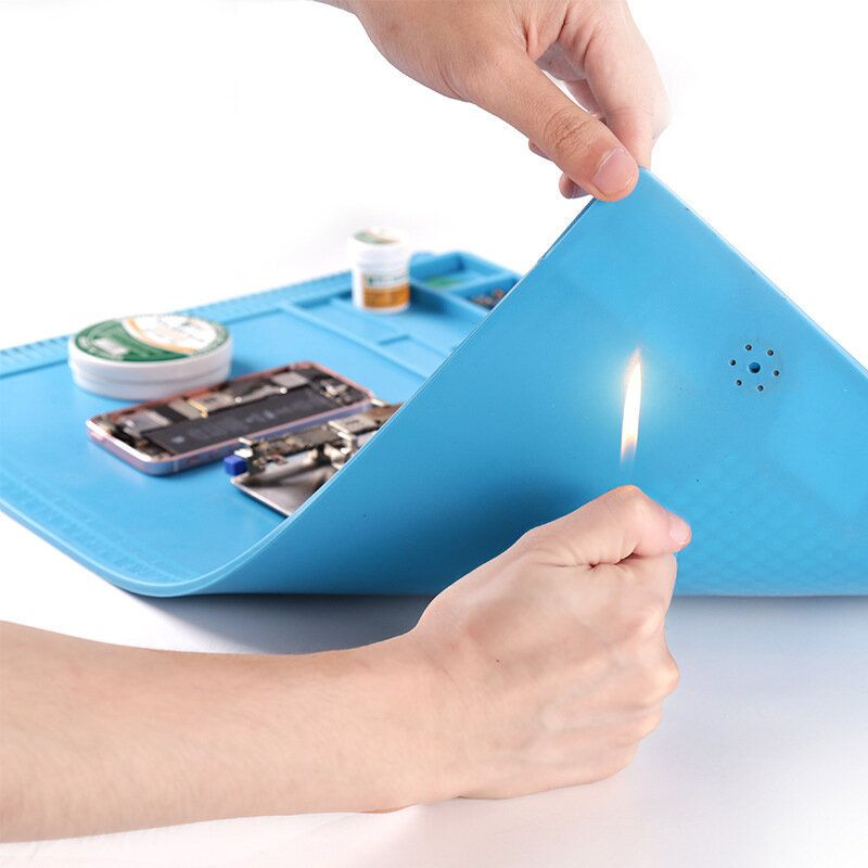 BSET S 180A1 550x350mm Anti static Mat Heat Insulation Soldering Mobile Phone Repair Pad Work Table with Magnetic Parts Adsorption