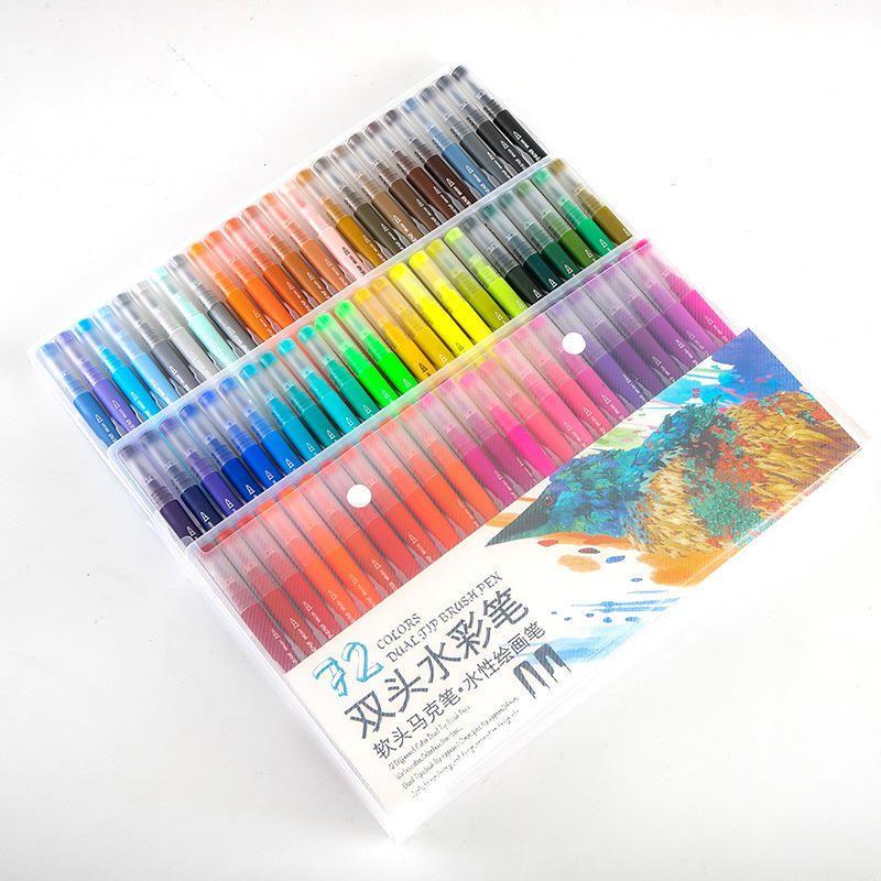 48/60/72/100 Pcs Colors FineLiner Dual Tip Brush Pens Drawing Painting Watercolor Art Marker Pen School Supplies