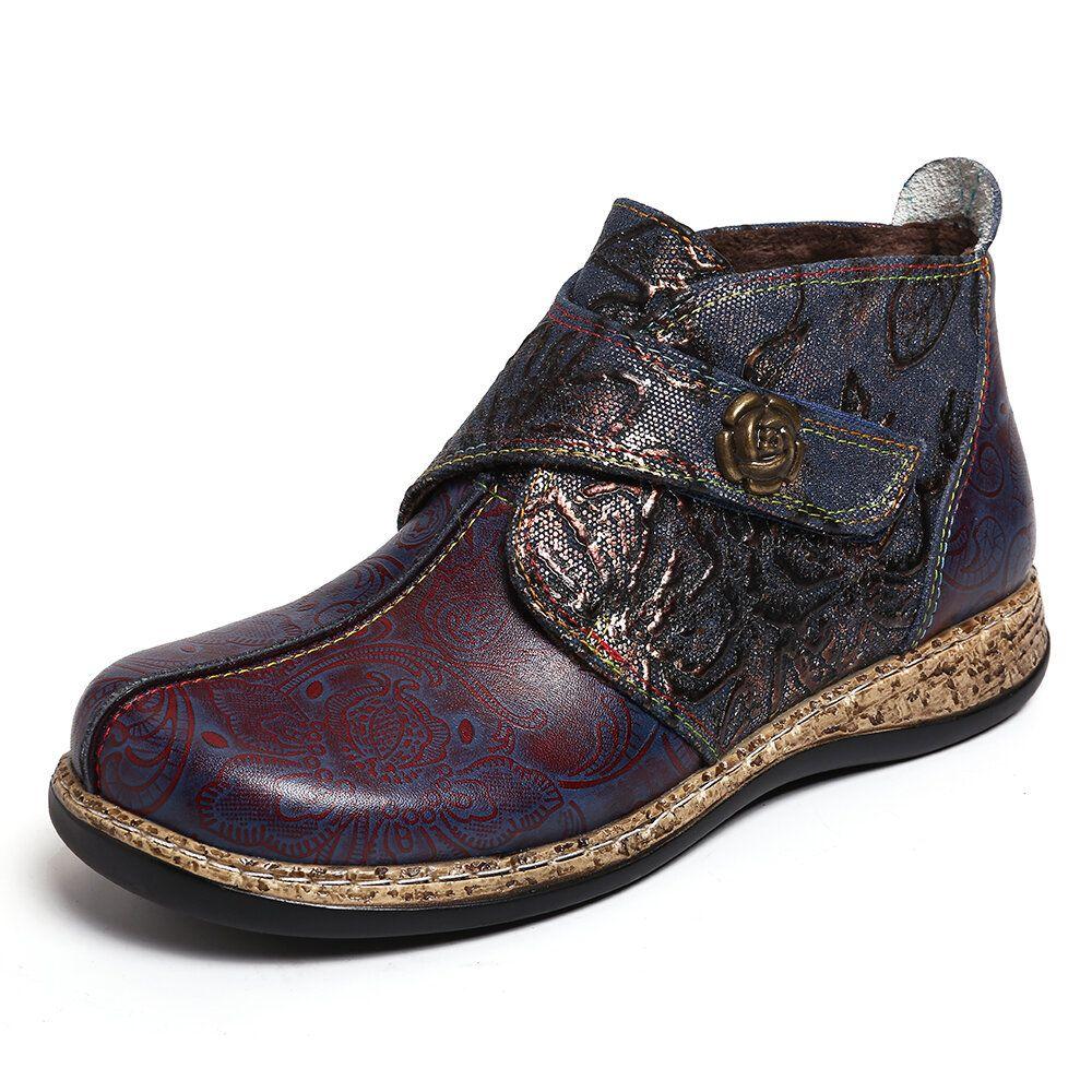 KCV US$77.24 Women Vintage PrintedSplicing Hook Loop  Ankle Boots
