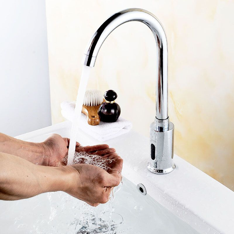 DQR US$31.49 Zinc Alloy Automatic Infrared Sensor Kitchen Basin Sink Faucet Smart Touchless Sink Single Cold Tap Single Handle Deck Mount w/ Hose Controller Box