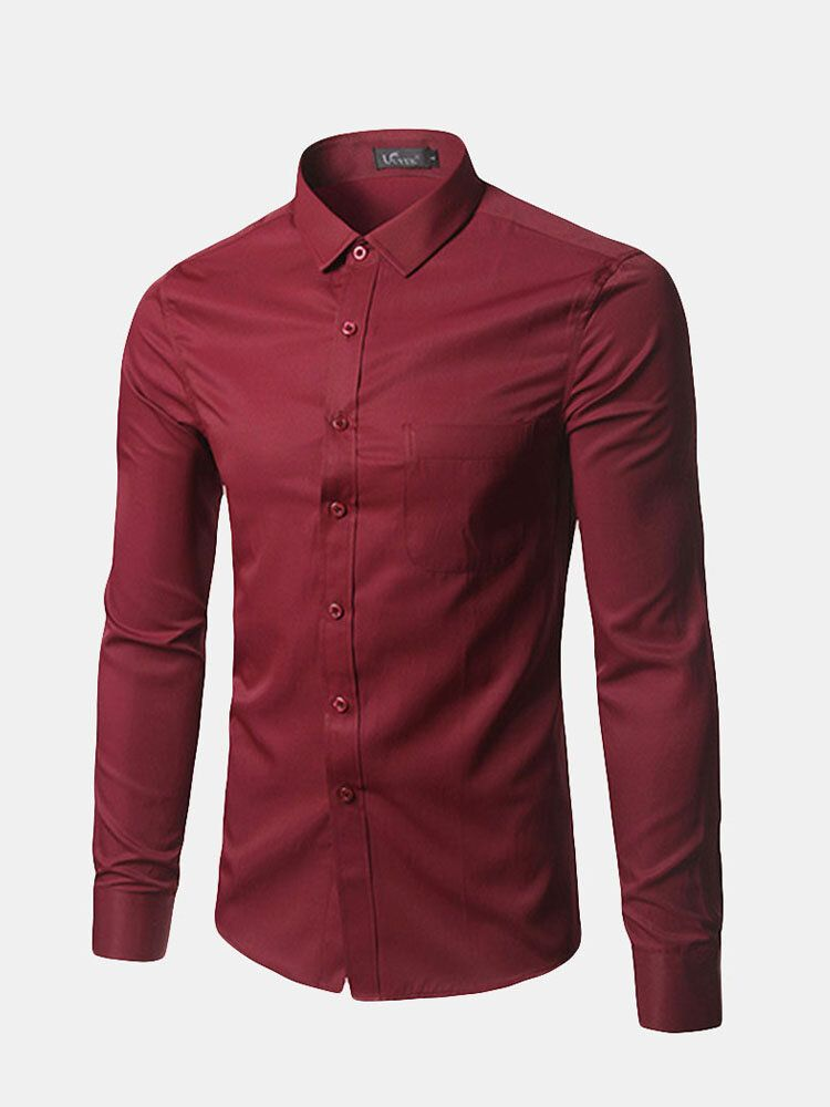 Mens Classic Slim Fit Pure Color Long sleeved Dress Shitrs