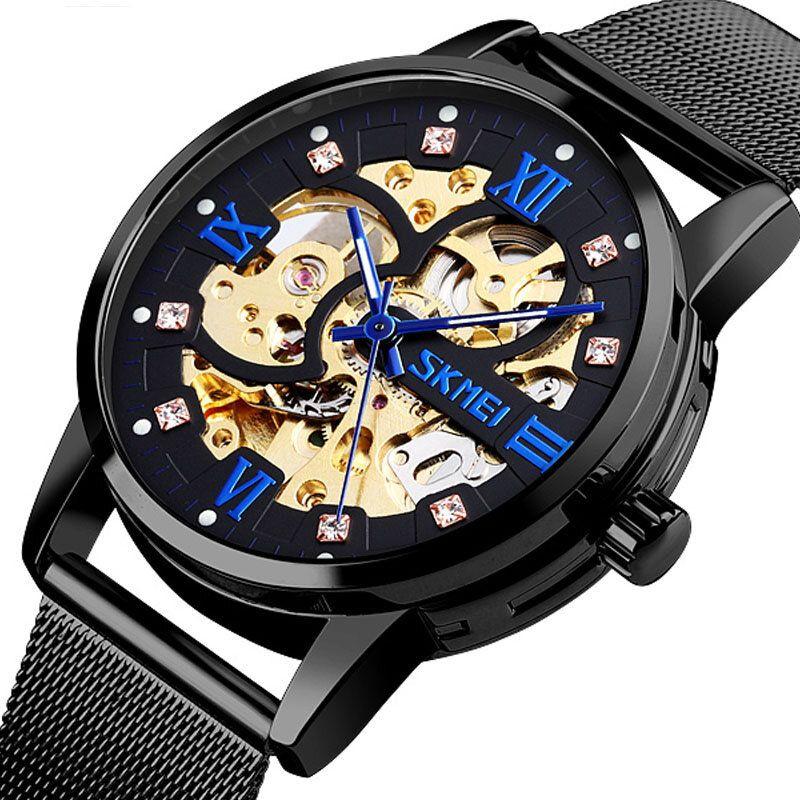 SKMEI 9199 Fashion Automatic Men Watch Waterproof Luminous Display Gear Hollow Art Dial Mechanical Watch