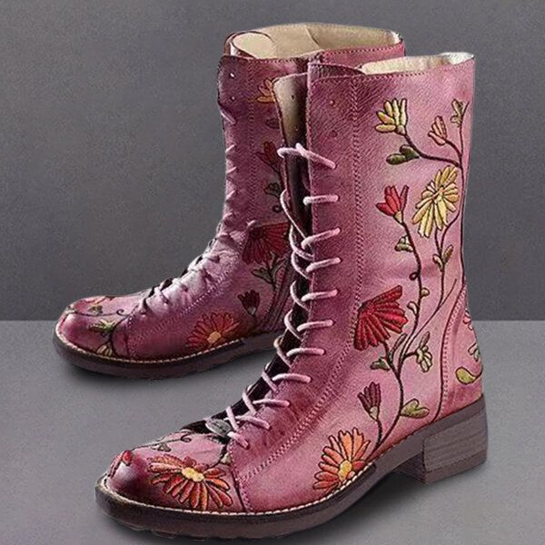 LOSTISY Women Flower Embroidered Chunky Heel Ankle Boots