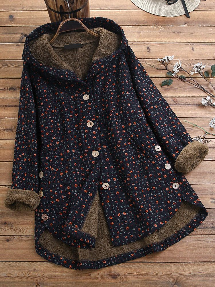 Women Long Sleeve Hooded Plaid Thick Coats