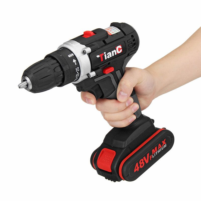 48V Dual Speed Electric Drill Li ion Battery Power Drills W/ 1 Or 2 Batteries Forward/Reverse Switch