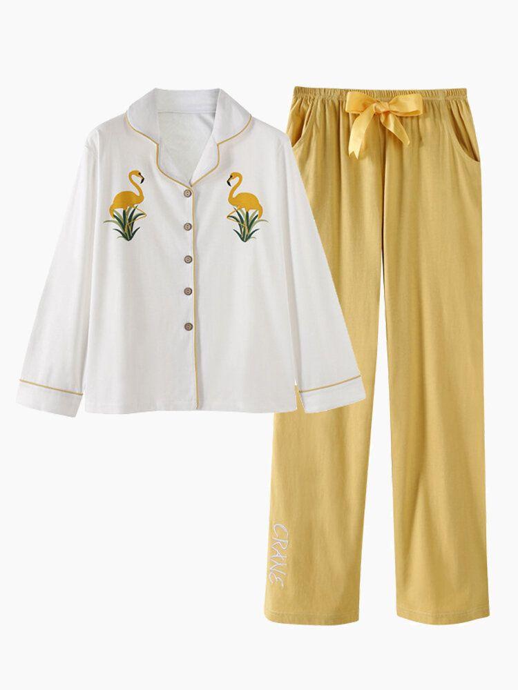 Cotton Plus Size Oblique V Neck Button Down Pajama Set
