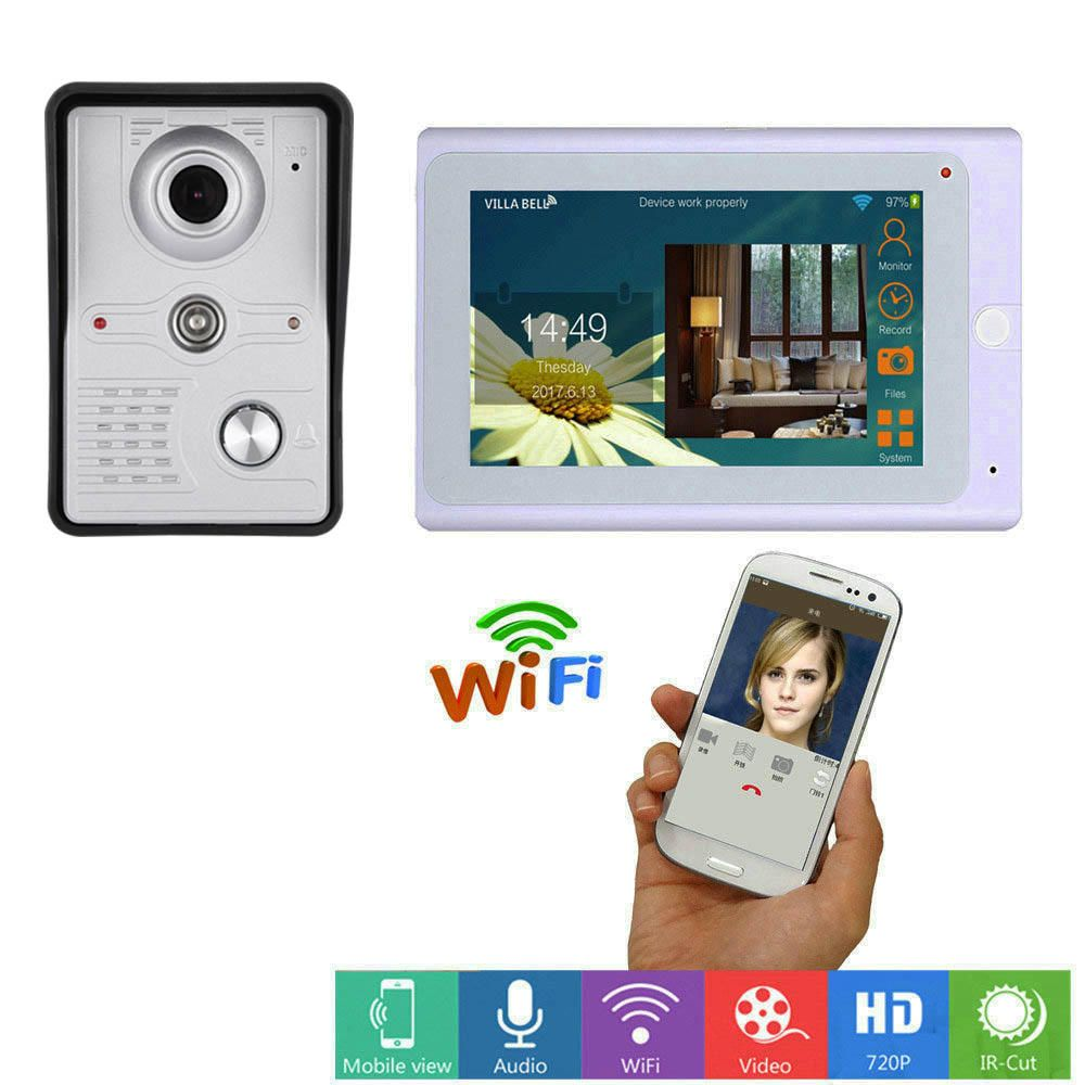 ENNIO 7inch Wireless/Wired Wifi IP Video Door Phone Doorbell Intercom Entry System with IR CUT HD 1000TVL Wired Camera Night Vision,Support Remote APP Unlocking,Recording,Snapshots