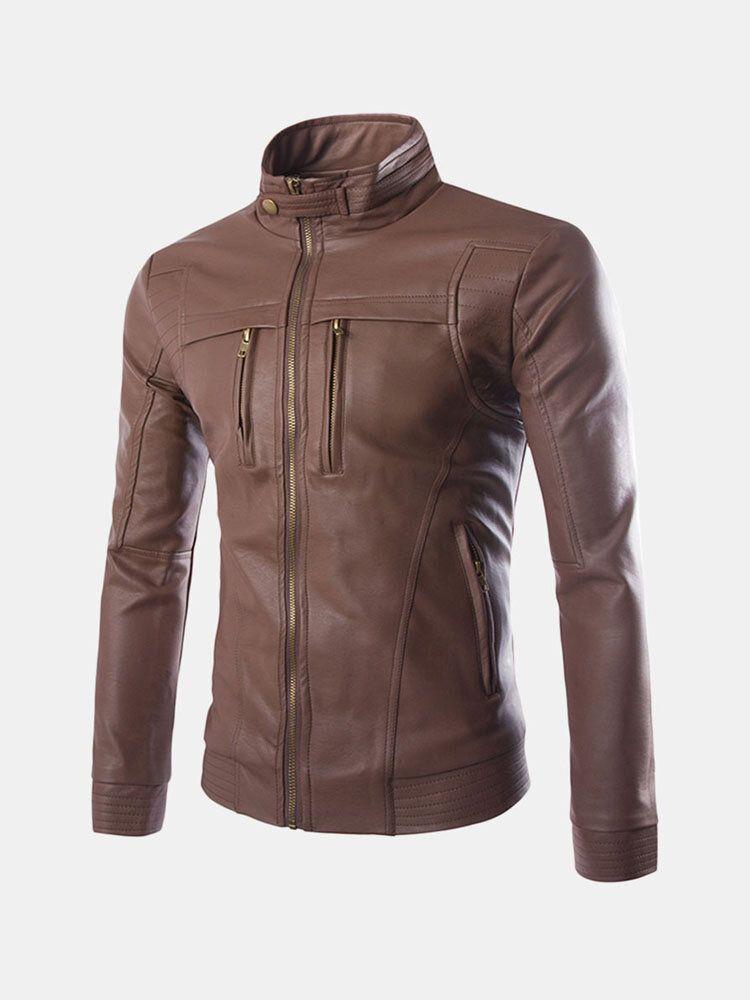 Mens Zipper Stand Collar Black Biker Faux Leather Jacket