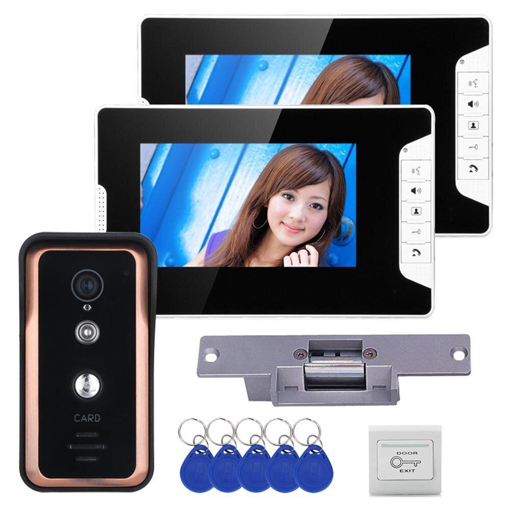 Wired 7 inch Video Door Phone Video Intercom Doorbell System 2 Monitor 1 RFID IR CUT Camera + Electric Magnetic Lock