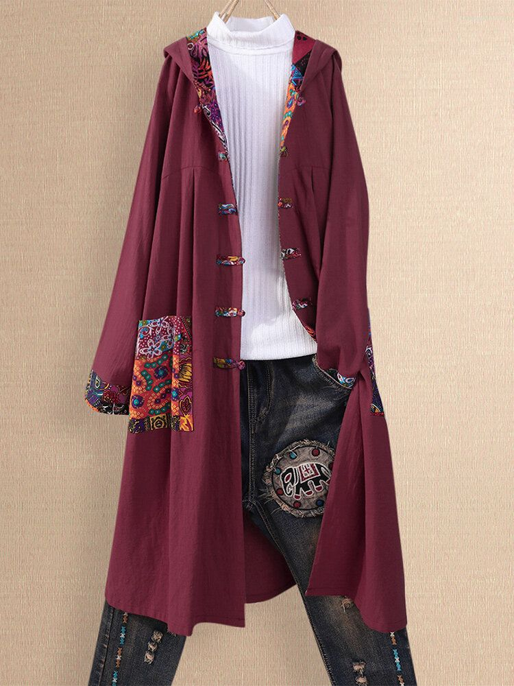 Ethnic Print Patchwork Hooded Plus Size Cardigans