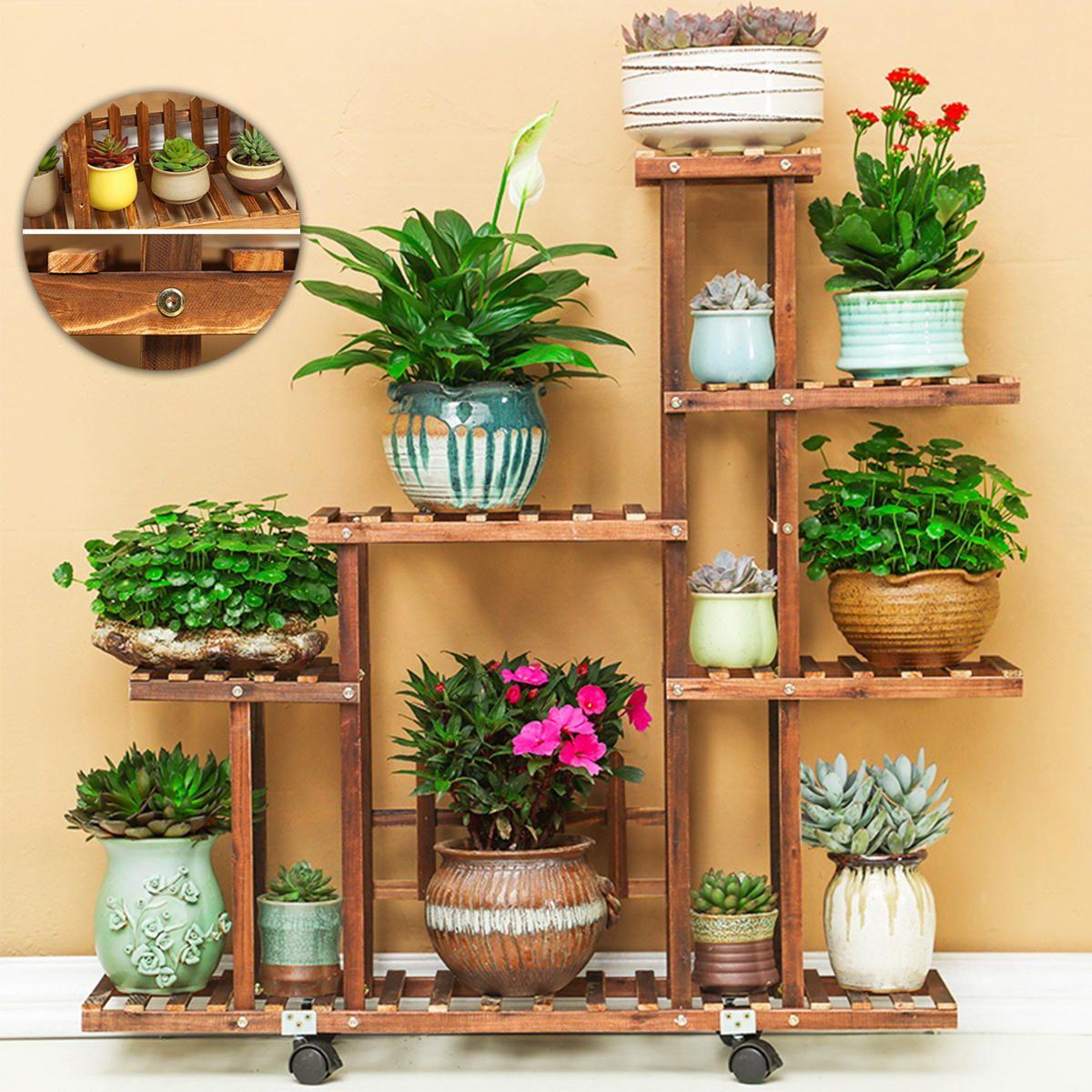 IFE US$99.99 5 Tier Fir Wood Wooden Plant Flower Display Stand Shelf Rack Holder & Wheels
