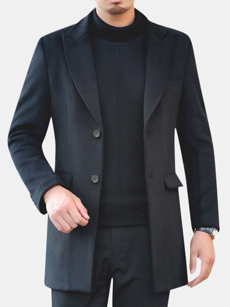 Men Winter Warm Cotton Padded Slim Mid Long Trench Coat
