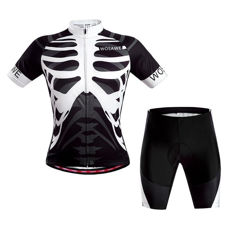 WOSAWE Short Sleeves Cycling Jersey Cycling Clothing Set Bicycle Bike Suit Skeleton