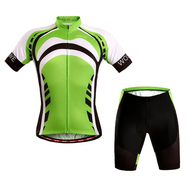 WOSAWE Short Sleeve Cycling Suit Sports Suit Sportswear With 4D Gel Pad Unisex Green