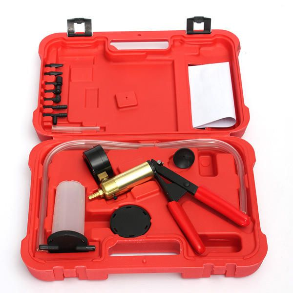 QRO US$27.73 Hand Held Brake Bleeder Tester Set Bleed Kit Vacuum Pump Fluid Reservoir Tester