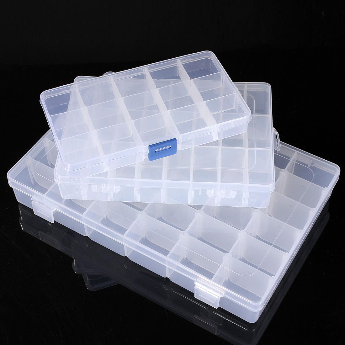 10/15/24/36 Grid Adjustable Bead Organizer Jewelry Box Storage Case