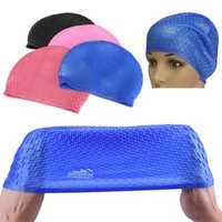 Waterproof Silicone Swimming Cap Protect Ear Long Hair Summer Adults