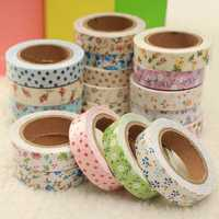 Floral Fabric Tape Washi Masking Gift PresentTape Decorative Tape DIY Tape Stickers